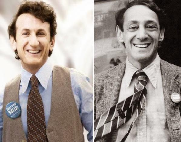 Sean Penn á esquerda e o verdadeiro Harvey Milk á direita.