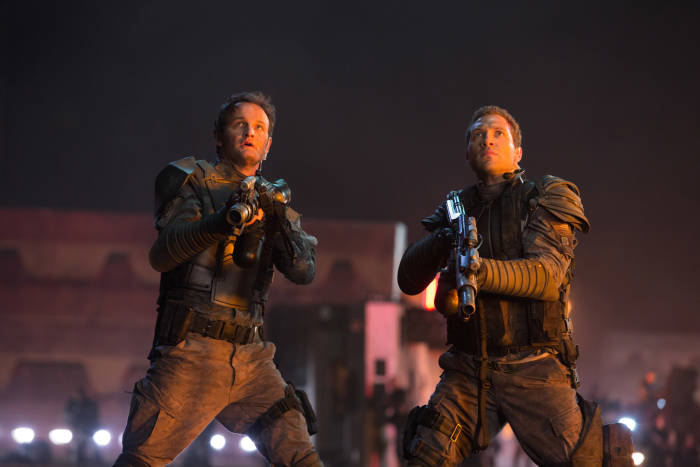 Left to right: Jason Clarke plays John Connor and Jai Courtney plays Kyle Reese in TERMINATOR GENISYS from Paramount Pictures and Skydance Productions.
