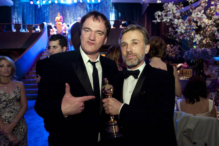 Academy Award nominee Quentin Tarantino with Oscar winner Christoph Waltz at the Governors Ball after the 82nd Annual Academy Awards at the Kodak Theatre in Hollywood, CA on Sunday, March 7, 2010.