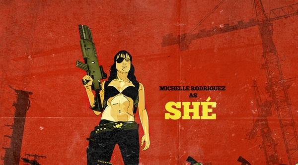 """Michelle Rodriguez caracterizada como a revolucionária """"Shé"""". Sacou as referências, né?"""
