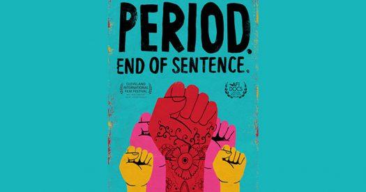 imagem do cartaz do filme Absorvendo o Tabu em inglês. Ele é azul e tem punhos fechados coloridos no meio.